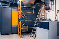 modern, industrieel, commercieel, luchtcompressor, installatie, moderne techniek, royalty-vrije stock foto's