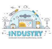 Modern industry thin block line flat icons and composition Royalty Free Stock Photography