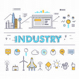 Modern industry thin block line flat icons and composition Royalty Free Stock Image