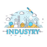 Modern industry thin block line flat icons and composition Stock Photography