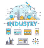 Modern industry thin block line flat icons and composition Royalty Free Stock Photos