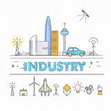 Modern industry thin block line flat icons and composition Royalty Free Stock Images