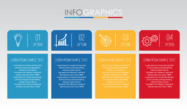 Modern Info-graphic Template for Business with four steps multi-Color design, labels design, Vector info-graphic element, Flat sty Royalty Free Stock Photography