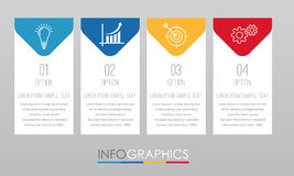 Modern Info-graphic Template for Business with four steps multi-Color design, labels design, Vector info-graphic element, Flat sty Royalty Free Stock Image