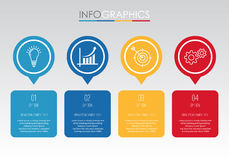 Modern Info-graphic Template for Business with four steps multi-Color design, labels design, Vector info-graphic element, Flat sty Stock Photo