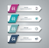 Modern infographic arrows. Vector design template of 4 options, steps, parts. Can be used for workflow layout, diagram, step by step infographics, graph chart Stock Photography