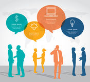 Modern infographic for business project with silhouette people. Stock Photo