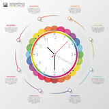 Modern infographic with colorful clock. Vector Stock Images