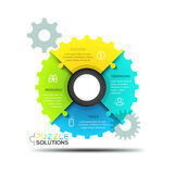 Modern infographic design layout, jigsaw puzzle in shape of gear wheel. Divided into 4 parts. Elements of coordinated work, mechanism of successful business vector illustration