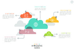 Modern infographic design layout, 5 separated translucent clouds. Of different size with arrows pointing at text boxes. Data storage concept. Vector Stock Images