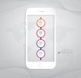Modern infographic design med den smarta telefonen Fotografering för Bildbyråer