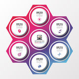 Modern infographic design template. Circle in hexagon. Vector illustration Stock Photography
