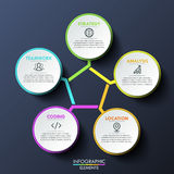 Modern infographic design template, circular diagram with 5 multicolored lettered elements connected with center. Steps of project development. Vector Royalty Free Stock Photo