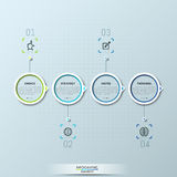 Modern infographic design template with 4 circular elements and text boxes. Project stages, history of company development, steps to success concept. Vector stock illustration