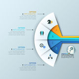 Modern infographic design template 4 connected sectoral lettered elements Royalty Free Stock Photography