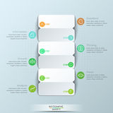 Modern infographic design template, 3 double-sided paper cards with letters and 6 text boxes. Steps of business project development. Vector illustration for Royalty Free Stock Images