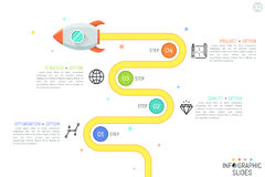 Modern infographic design template with flying rocket, 4 numbered circular elements, linear pictograms and text boxes Royalty Free Stock Image