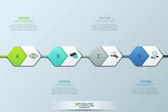 Modern infographic design template. Four successively connected hexagonal elements and text boxes Stock Photos