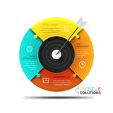 Modern infographic design template, jigsaw puzzle in shape of target divided into 4 parts Stock Photography