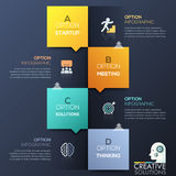 Modern infographic design template - 4 lettered colorful squares with arrows. Icons and text boxes placed chequerwise. Four steps to achieve goal. Vector Royalty Free Stock Photos