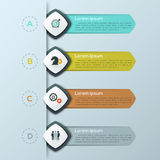 Modern infographic design template with 4 separate lettered elements and text boxes. Steps of business strategy planning, list of company goals. Vector Stock Photo