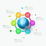 Modern infographic design template. Six circular elements Stock Image