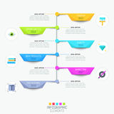 Modern infographic design template with vertical timeline royalty free illustration