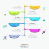 Modern infographic designmall med vertikal timeline royaltyfri illustrationer