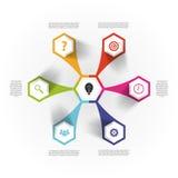 Modern infographic designmall Sexhörnigt begrepp vektor vektor illustrationer