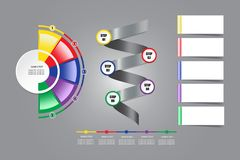 Modern infographic labels as circle, semicircle, metal spiral an Royalty Free Stock Photo
