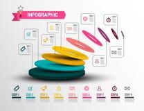 Modern Infographic Layout - Creative Web Presentation. Nine Steps Vector Infographics Design with Data Flow. Modern Infographic Layout - Creative Web stock illustration