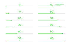 Modern Infographic Loading Bar Set - Green. Set of loading bars. Divided, transparent elements. value of 55% is fully editable to customize the percentage royalty free illustration