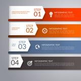 Modern infographic malplaatje met gebogen document pijlen 4 stappen, delen, opties, stadia abstracte vectorachtergrond Royalty-vrije Stock Afbeeldingen