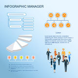 Modern infographic. Management and control system. Demonstration and workflow scheme. Teamwork. Web design for the landing page, brochure Royalty Free Stock Photography