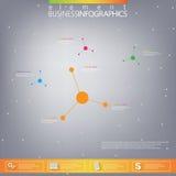 Modern infographic nätverksmall med stället för din text Användas för workfloworientering, kan diagram kartlägger nummeralternati Royaltyfri Foto