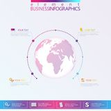 Modern infographic network template globe with place for your text. Can be used for workflow layout, diagram, chart, number option Stock Photos