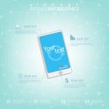 Modern infographic ontwerp met ruimte voor uw tekst en lay-out op het smartphonescherm Kan voor bedrijfsconcepten, Webontwerp wor Royalty-vrije Stock Foto's