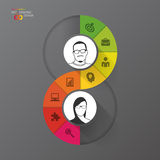 Modern infographic option banner. Abstract round infinity. Royalty Free Stock Image
