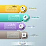 Modern infographic option banner with colorful abstract round paper ribbons on grey background. Stock Images