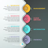 Modern infographic option banner. With colorful paper circles on dark background. Vector. Can be used for web design and  workflow layout Vector Illustration