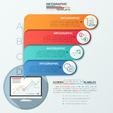 Modern infographic option banner. Modern infographics options banner for 4 options with computer screen and colorful speech bubbles. Vector. Can be used for web Stock Illustration