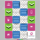 Modern infographic option banner with squares. Design for diagram, web design, workflow layout and template for your content Stock Image