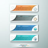 Modern infographic option banner. Modern infographic option template with 4 rectangle paper sheets and icons on grey background. Vector. Can be used for web Vector Illustration
