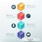 Modern Infographic Options Banner. Modern infographics options template with realistic colorful cubes for 4 options. Vector. Can be used for web design and Stock Illustration