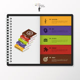 Modern Infographic options in diary. Business concept with books. Royalty Free Stock Images