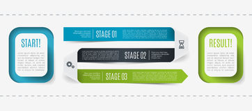 Modern infographic, process description from start to result, 3 steps. Template for presentation, chart, graph. Vector. Illustration Royalty Free Stock Image