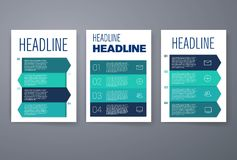 Modern infographic sequence cards design template Stock Photos