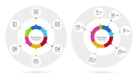 Modern infographic template pie charts with 6 steps. Business circle template with options for brochure, diagram, workflow. EPS10. Modern infographic template Stock Photography