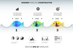 Modern Infographic Timeline Constructor For Fishing Industry. Conceptual Vector Background. Template For Business Stock Photos