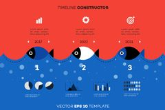 Modern Infographic Timeline Constructor For Fishing Industry. Conceptual Vector Background. Template For Business Stock Photo